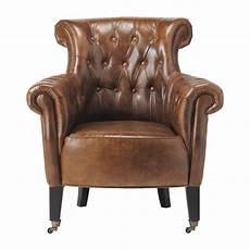 fauteuil en cuir fauteuil capitonn 233 224 roulettes en cuir marron