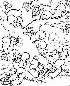 Ausmalbilder Viele Tiere Viele Eichhoernchen Im Baum Ausmalbild Malvorlage Tiere