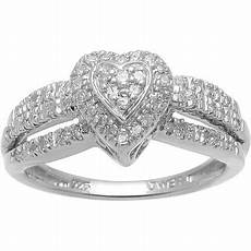 1 7 carat t w diamond sterling silver heart shape engagement ring walmart com