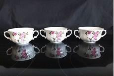 Wunsiedel Bavaria Porzellan - 3 antique wunsiedel bavaria porcelain pink roses soup