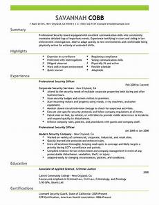 best professional security officer resume exle livecareer