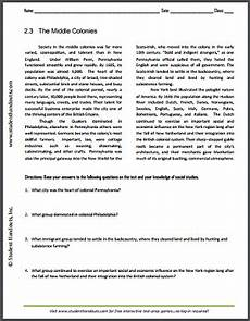 the middle colonies free printable reading with