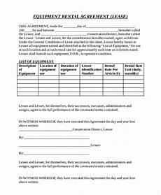 20 equipment rental agreement templates doc pdf free