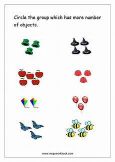 basic addition worksheets with pictures 9606 math worksheet circle the with more number of objects 1 to 5 kindergarten math