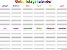 Malvorlagen Querformat Xls Geburtstagskalender In Excel Zum Ausdrucken 8 Varianten