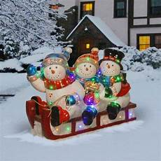 Quality Resin 29 Quot Outdoor 3 Snowmen Snowman Sled