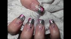 metallic glitter nageldesign mit water nail tattoos zum