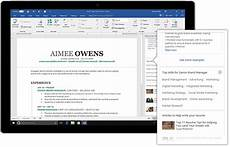 word now uses information from linkedin to help you create the cv