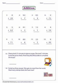 adding 2 digit and single digit numbers no carry lots of