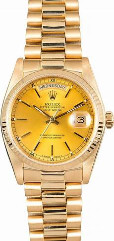 rolex 18k yellow gold day date 18038