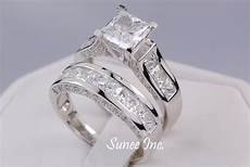 4 35ct princess cut wedding ring engagement ring wedding band diamond simulated 925 sterling