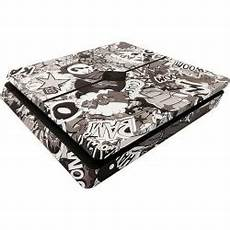 sony playstation 4 slim stickerbomb black white skin