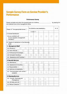 sle survey form service provider s performance printable pdf download