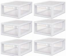 Clear Storage Drawers by 6 Sterilite 23608006 Medium Modular Stacking Storage