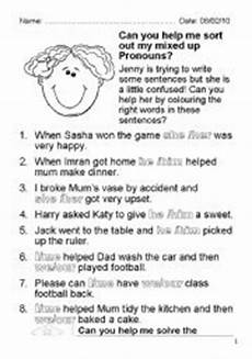 mixed up pronouns esl worksheet by susyw
