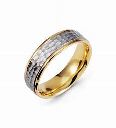 hammered 14k yellow white gold wedding band two tone