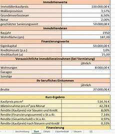 excel vorlage investitionsberechnung f 252 r immobilien