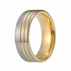 men s silver yellow gold tungsten wedding band matte two tone wedding bands hq