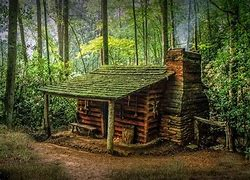 Image result for small log cabin high in the mountains