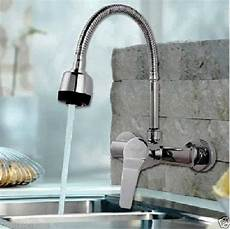 wall mounted kitchen dual sprayer faucet chrome