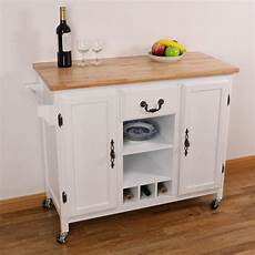 basicwise white large wooden kitchen island trolley with heavy duty rolling casters qi003278l