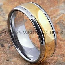 tungsten mens ring 18k gold wedding band 8mm engagement bridal jewelry size 6 13 ebay