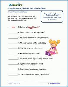 prepositions objects worksheets k5 learning