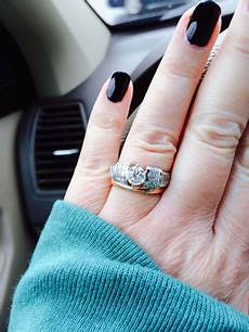 show me your white gold platinum engagement ring with rose