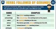 definition useful list of verbs followed by gerunds with