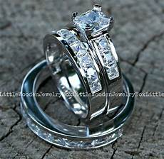 his and hers 925 sterling silver 14k white gold engagement wedding ring band set ebay