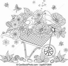 Malvorlage Exotische Blumen Fancy Floral Arrangement And Of Birds In