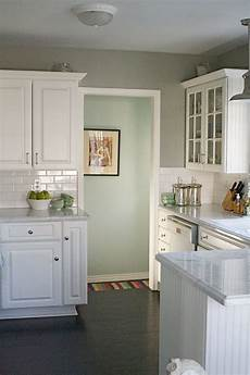 love how the paints colors for the kitchen gray the hallway pale aqua complement each
