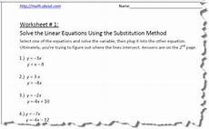 systems of equations by substitution worksheets