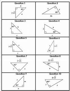 geometry trigonometry worksheets 910 special right triangles card matching activity geometry trigonometry