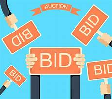 auction bid auction and bidding banner with holding bords stock