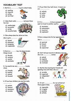 vocabulary test worksheet free esl printable worksheets