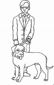 mann mit brille und hund ausmalbild malvorlage kinder