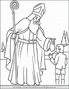 Ausmalbild Bischof Nikolaus Nicholas Coloring Page Thecatholickid