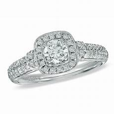 vera wang love collection 0 70 ct t w diamond frame engagement ring in 14k white gold view