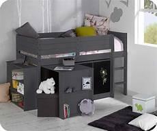 hauteur de lit lit enfant mi hauteur tamis gris anthracite 90x190 cm