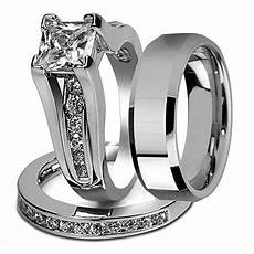 marimor jewelry his and hers stainless steel princess wedding ring beveled edge wedding