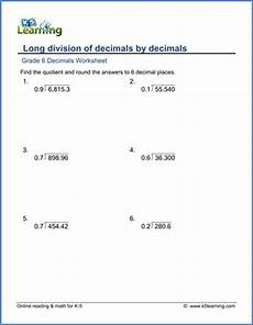 grade 6 math worksheet decimals division of decimals by 1 digit decimals k5 learning