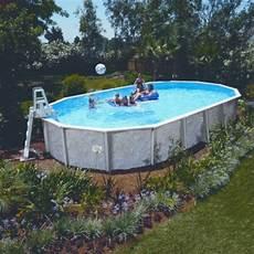 Stahlwandpool Oval Freistehend - 7 30 x 3 60 x 1 32 m stahlwandpool oval center pool