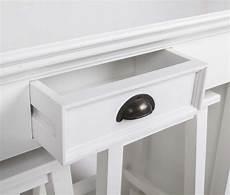 Tisch Tresentisch Mit Zwei Hocker Aus Massivholz In Weiss