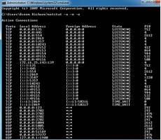 check for open use netstat to see listening ports and pid in windows