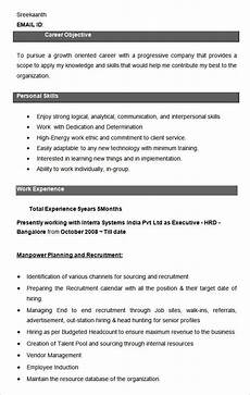 resume format in hr executive free 26 hr resume templates in ms word pages pdf ai psd pages publisher indesign