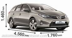 dimension auris hybride dimensions of toyota cars showing length width and height