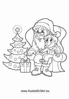 ausmalbilder nikolaus sitzt am weihnachtsbaum nikolaus