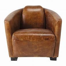 fauteuil en cuir fauteuil cuir vintage marron oscar maisons du monde
