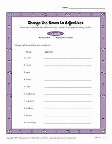 change the nouns to adjectives printable 3rd 4th grade nouns activity